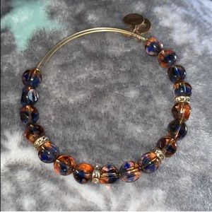 Honey brown and blue beaded Alex and ani bracelet